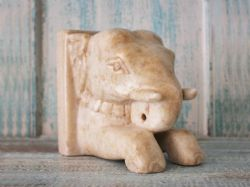 Marble Elephant Head Book End